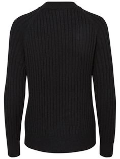 HIGH NECK KNITTED PULLOVER, Black Beauty, large