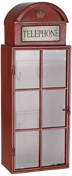 Vintage Telephone Booth Cabinet with Hooks | 55DowningStreet.com