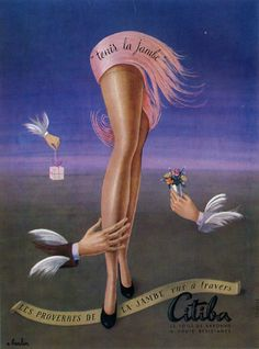 Citiba Hosiery, 1949 French vintage advert ad nylons... A hint of Dali here...