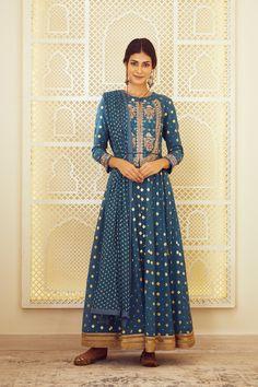 Shyam Narayan Prasad | Purple Anarkali Set | INDIASPOPUP.COM Designer Wear, Designer Dresses, Anarkali Gown, Pakistani Outfits, Indian Ethnic Wear, Bridal Lehenga, Teal Blue, Pink White, Blue Fabric