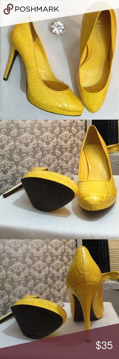 Ralph Lauren yellow faux snake skin heels Like new heel 4 inches in length very low platform Ralph Lauren Shoes Heels
