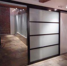 Slide door with a modern use of the shoji screen