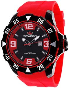 d4bda8cd538 Seapro Diver Mens Black Dial Red Silicone Strap Watch Watch Sale