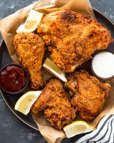 Learn how to make the BEST buttermilk fried chicken in the air fryer in under 45 minutes. Super crispy on the outside and tender and juicy, this air fried Air Fryer Chicken Thighs, Air Fryer Fried Chicken, Making Fried Chicken, Deep Fried Chicken Thighs, Chicken Pieces Recipes, Chicken Thigh Recipes Oven, Easy Chicken Recipes, Healthy Chicken, Salmon Recipes
