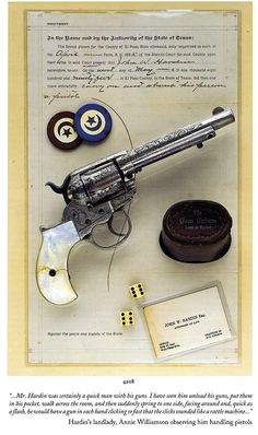 John Wesley Hardin was partial to fancy Colt Thunderers.This one was seized by the El Paso Sheriff when Hardin was arrested for unlawfully carrying a pistol in May of 1895. It was still in the sheriff's custody when Hardin was shot to death in August of that year.