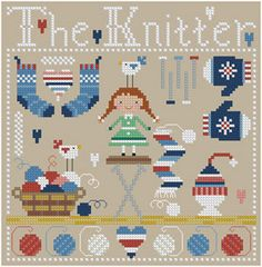 The Knitter Cross Stitch Pattern by Theflossbox on Etsy