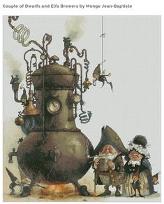 Cross Stitch Chart Goblins Pair Alembic Fantasy Series by Lena Lawson Needlearts - Art of Jean-Baptiste Monge