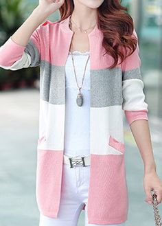 1d5f25269f Color Block Open Front Long Sleeve Cardigan Poncho Sweater