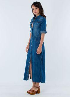 Wild West Denim Maxi Dress BLUE