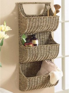 Book Shelves with Baskets | ... Tier Wall Basket - contemporary - wall shelves - by Touch of Class