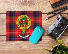Rubber mousemat with Fraser clan crest and tartan - only from ScotClans