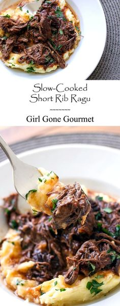 Rich and hearty short rib ragu with parmesan mashed potatoes | girlgonegourmet.com