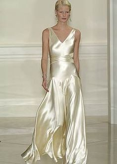 """Silk w/crossover gown ... this bring to mind, """"...there she stands in a silken gown, silver lights shining down ...."""""""