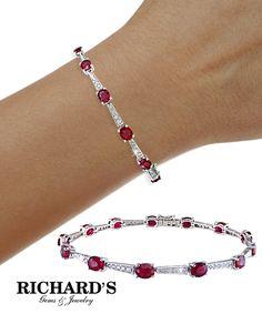 Ruby and Diamond Bracelet in 18K White Gold