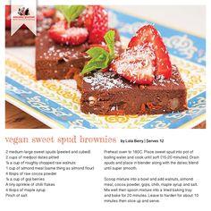 Recipe for Vegan Sweet Spud Brownies Gf Recipes, Gourmet Recipes, Recipe Cards, Brownies, Berries, Clean Eating, Oven, Gluten Free, Meals