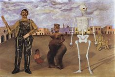 Four Inhabitants of Mexico, 1938 by Frida Kahlo binds to her Mexican heritage, encapsulated in a cast of characters focused around antiquities that the Riveras claimed. This painting depicts four personalities, a Judas, a pre-Columbian symbol from Nayarit, a skeleton of the sort that kids like to dangle on the Day of the Dead, and a straw man riding a donkey.