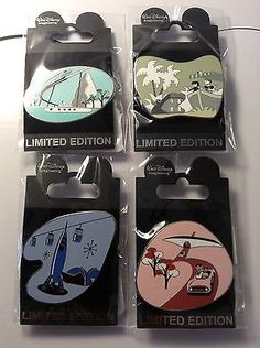 Disney WDI DL 1960 4 pin set Rockets, Mattherhorn, Monorail and Autopia LE 250