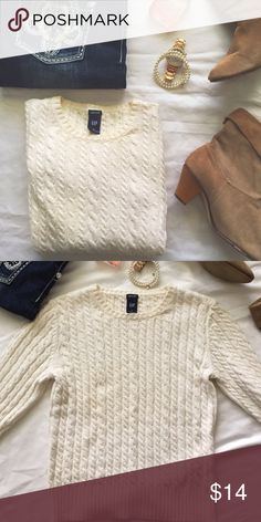 "White cable knit basic fall sweater Great basic for every closet! Great ""throw on and go"" with jeans and boots. Gently used, but in great condition! Measurements: bust 17"", length 21"", arm 23"". GAP Sweaters"