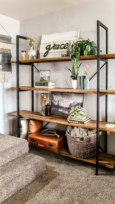 Are you looking for inspiration for your spring living room decor?? See how we styled our shelves with moss vases and vintage books for a boho look. Living Room Inspiration, Home Decor Inspiration, Manzanita, Room Shelves, Vintage Room, White Rooms, Bookcases, Boho Style, Vases