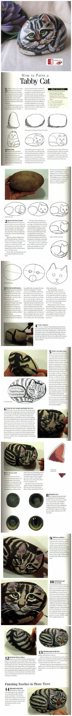 How to paint Tabby cat painted rock
