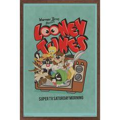 Trends International Looney Tunes - Group - Super TV Saturday Morning Framed Wall Poster Prints Mahogany Framed Version 22.375