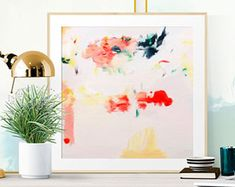 Items similar to Flora, Giclee Abstract Fine Art Print, abstract print, pink, green on Etsy