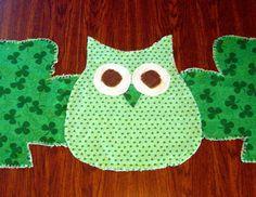 Rag Quilt Table Runner Shamrocks & Green Owl by ThePrairieCottage