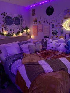 Bedroom Dormitory Apartment Lighting Purple Violet Little Girls Room Apartment Bedroom Dormitory Lighting Purple Violet Chill Room, Cozy Room, Teen Room Decor, Room Ideas Bedroom, Bedroom Inspo, Tumblr Room Decor, Design Bedroom, Hippy Bedroom, Hippie Bedroom Decor