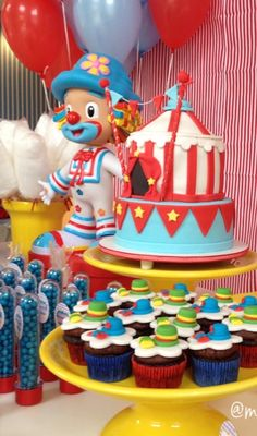 Circus Birthday Party cake and cupcakes!  See more party planning ideas at CatchMyParty.com!