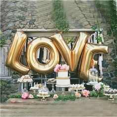 Love Balloon Set, 40 Inch gold Foil love Ballon for Romantic Wedding, Bridal Shower, Anniversary, and Engagement Party Decoration (LOVE) Dessert Bar Wedding, Brunch Wedding, Mod Wedding, Wedding Desserts, Dream Wedding, Wedding Decorations, Wedding Day, Party Wedding, Glamorous Wedding