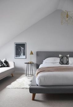 48 Superb Scandinavian Bedroom Decoration Ideas That You Should Try - When looking for ideas to create an interesting appearance for small bedrooms, I like to look at far bigger ideas and see if they will adapt successfu. Scandinavian Style Bedroom, Nordic Bedroom, Scandinavian Home, Home Decor Bedroom, Bedroom Inspo, Bedroom Inspiration, Bedroom Ideas, Minimalist Bedroom, Modern Bedroom