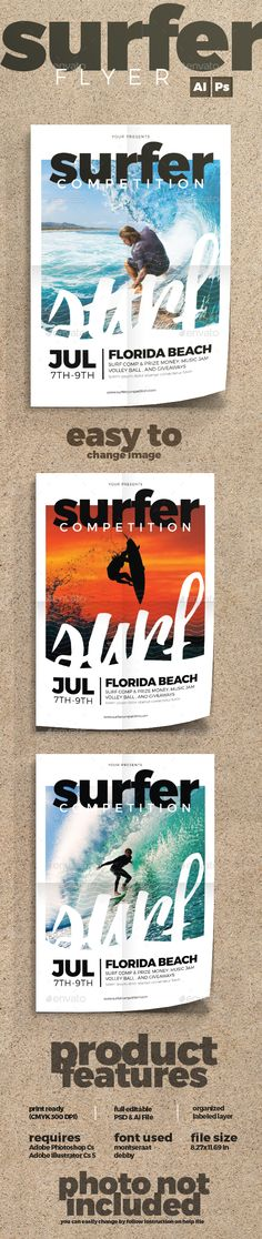 Awesome Surfing PSD Flyer  Template • Only available here ➝ http://graphicriver.net/item/surfing-flyer/14099022?ref=pxcr