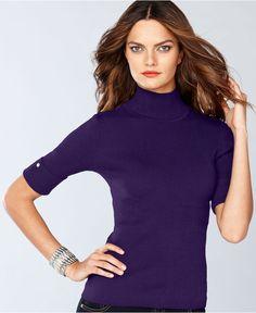 INC International Concepts Sweater, Short-Sleeve Rhinestone Turtleneck - Womens Sweaters - Macy's