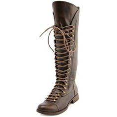 """Charlotte Russe lace up exposed zip boot This faux-leather combat boot features a classic lace-up front with metallic hooks. Exposed zipper is complete with colored fabric to brighten the look. Fits with a lightly cushioned insole and short, 3/4"""" rubber heel. Shaft is 15"""" with a 15.5"""" leg opening.                          Gently used! Great condition! Shoes Lace Up Boots"""