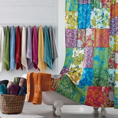 Rio Shower Curtain - Similar in motif to the Rio Quilt with lush garden blooms and vibrant summery hues!