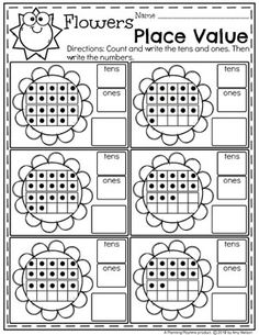 Kindergarten Place Value Worksheets - Tens and Ones Flowers #placevalue #kindergartenmath #mathworksheets #kindergartenworksheets #placevalueworksheets