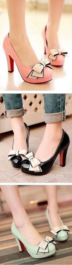 Cute Bow Knot Pumps ღ – http://thepinuppodcast.com re-pinned this because we are trying to make the pinup community a little bit better.