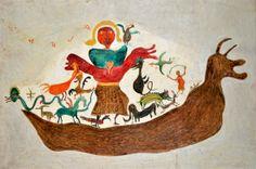 "Ilija (Bosilj) Bašičević. Noah's Ark. 1967. Oil o wood. Signed ""Ilija,"" upper left. 48"" x 31 7/8"" (122 x 81 cm). From the series ""Bible,"" no. B-54. ""My Father Ilija,"" no. 392."