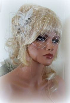 Bridal fascinator English net bridal veil  by kathyjohnson3, $68.00