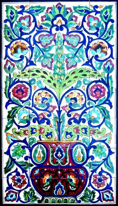 TURKISH CERAMIC TILES: Turkish design mosaic panel hand painted wall decor mural bath kitchen backsplash pool patio spa art tile 42in x 24in on Etsy, $300.00