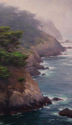 Foggy Coast by Jesse Powell Oil ~ 24 x 14