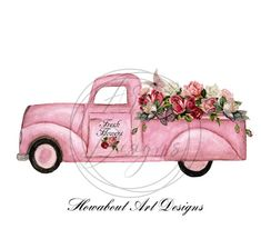 Cute Pink Vintage Truck filled with roses and Flowers Sublimation Farmhouse Printable Art Valentine Pink Flowers. Vintage Flowers, Vintage Pink, Pink Flowers, Exotic Flowers, Yellow Roses, Pink Roses, Pink Truck, Flower Truck, Create Collage