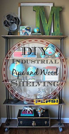 diy industrial pipe and wood shelving, repurposing upcycling, shelving ideas