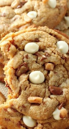 White Chocolate Toffee Brown Butter Cookies Recipe ~ Giant thick and chewy brown butter cookies are stuffed with milk chocolate toffee and white chocolate chips!