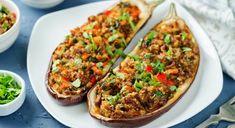 Buy Minced meat quinoa vegetables stuffed eggplants by Arzamasova on PhotoDune. Minced meat quinoa vegetables stuffed eggplants on a stone background. Veggie Recipes, Vegetarian Recipes, Mince Meat, Eggplant Recipes, Relleno, My Favorite Food, Vegetable Pizza, Tofu, Good Food