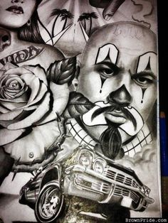 Coloring for adults - Kleuren voor volwassenen Cholo Tattoo, Chicano Art Tattoos, Chicano Drawings, Gangsta Tattoos, Lowrider Tattoo, Arte Lowrider, Arte Cholo, Cholo Art, Cholo Style
