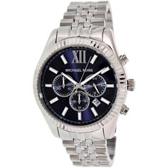 This handsome Michael Kors watch is designed for men and features a dark blue face with chronograph subdials. The stainless-steel band is rugged, yet elegant and features a push-button deployment clasp. There's a convenient date window as well.