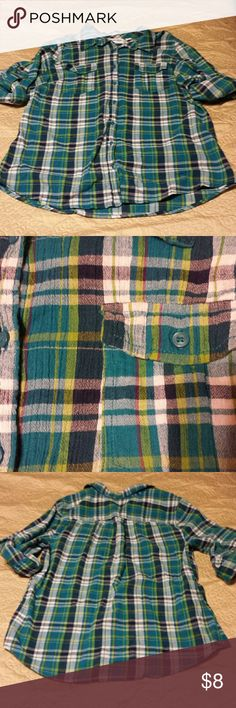 Plaid Shirt Blue, green, white, (and a tiny bit purple) plaid top. Short to 3/4 sleeves. Excellent condition. Kind of a gauzy type material. Size large. St. John's Bay Tops Button Down Shirts