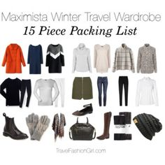 Sample 15 piece packing list and capsule wardrobe set for travel in the winter - read the full packing guide!