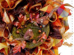 Autumn Ruffle Wreath Tutorial using Copper Pencil Wreath, Wide Foil Deco Poly Mesh, Moss Bird Nest, Plaid Ribbon, RAZ Birds Fall Mesh Wreaths, Autumn Wreaths, Christmas Wreaths, Door Wreaths, Helloween Make Up, Pencil Wreath, Trendy Tree, Mesh Wreath Tutorial, Thanksgiving Projects
